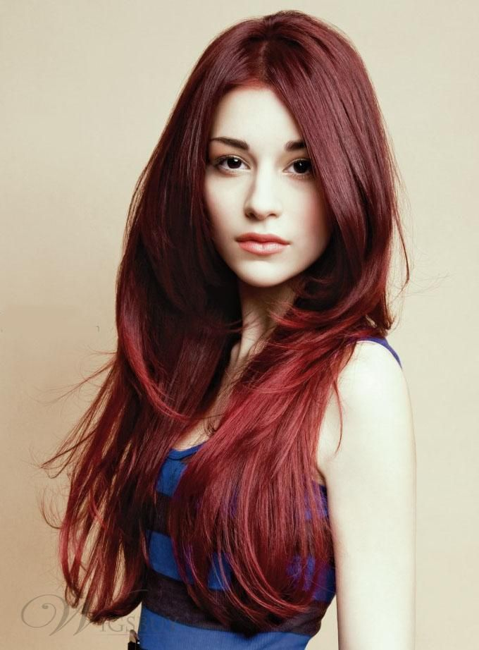 Wonderful Fabulous New Hairstyle Long Layered Straight Red 100% Human Hair Lace Front  Wig About 22