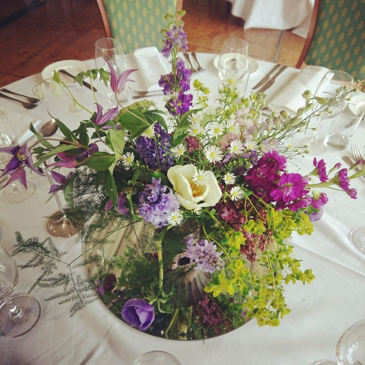 The Queensferry Flower Company. Spring Lilac and Clematis centerpiece.