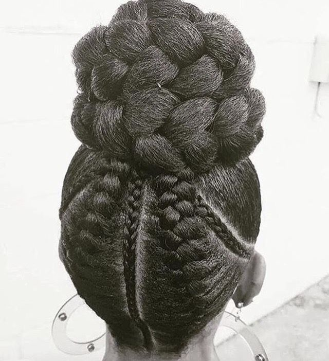 Braids, French braids, cornrows, bun, braid bun, hairstyles, protective styles, African American hairstyles.