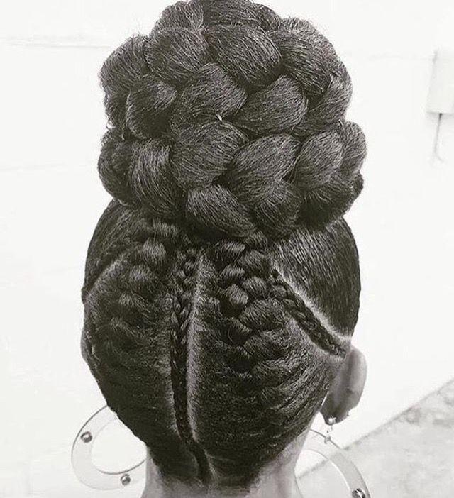 Braids, French braids, cornrows, bun, braid bun, hairstyles, protective styles, African American hairstyles.