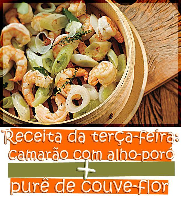 Camarão-com-alho-poró-e-purê-de-couve-flor