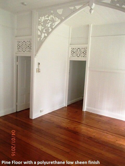 Pine flooring with a polyurethane low sheen, Heritage home in Taringa Brisbane