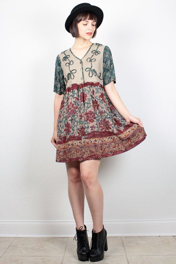 Vintage 1990s Dress Babydoll Dress Boho Floral Mini Dress 90s