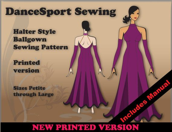 Halter Style Ballroom Gown Sewing Pattern by DanceSportSewing, $45.00