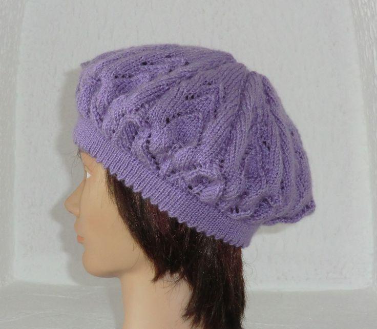Bonnet Béret En laine Joli motif  fantaisie ajouré Tricoté à la main Coloris Mauve Lilas Taille Unique Femme