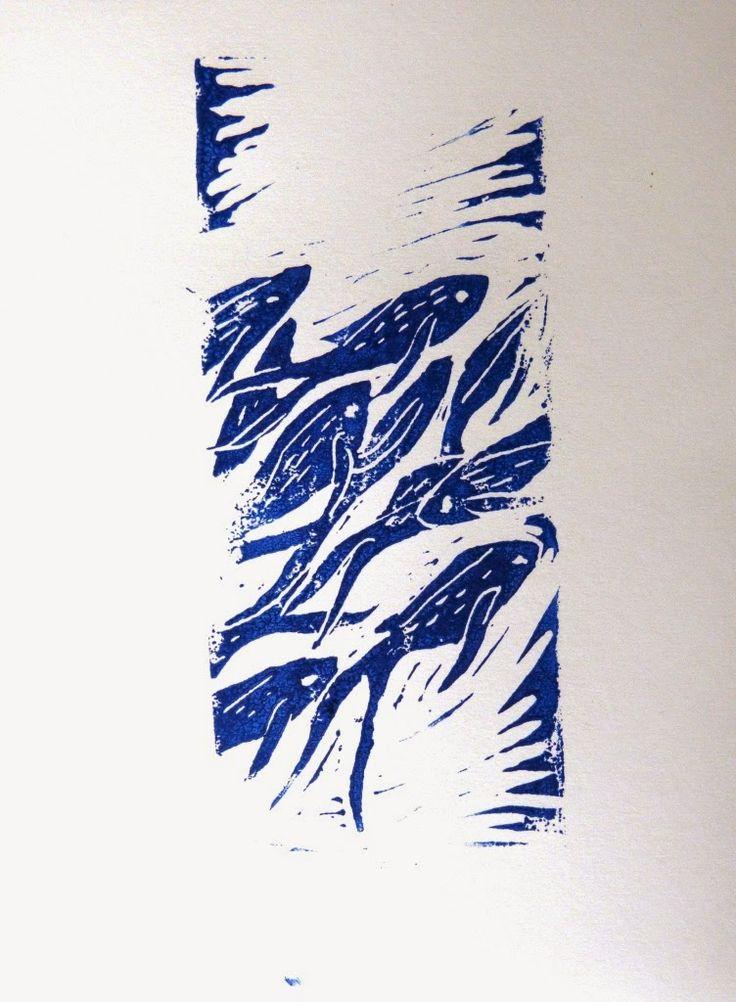Poisson tout frais en provenance de la Baie de Somme ( linogravure) de Lathelize