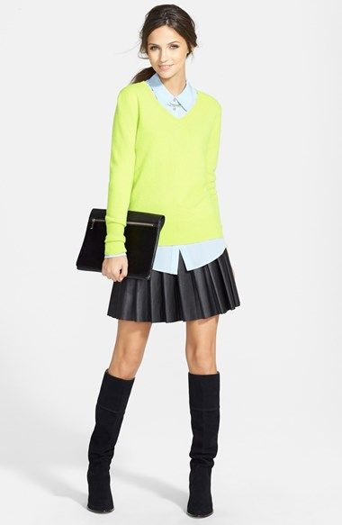 Halogen® Cashmere Sweater, Two by Vince Camuto Silk Blouse ...