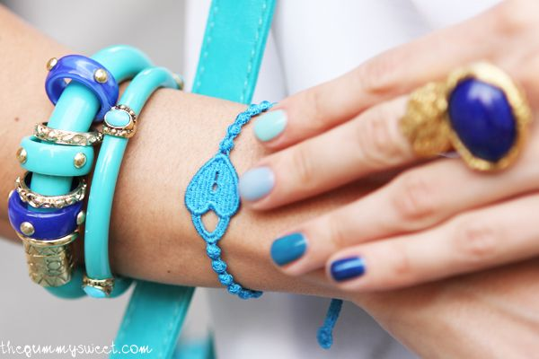 Colours & Beauty, Cruciani bracelets  and multicolor manicure
