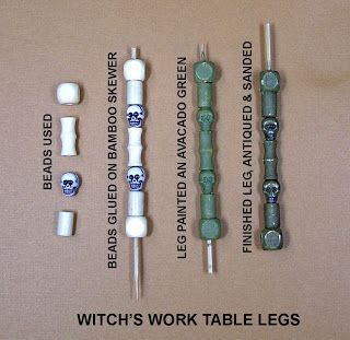 "How to make table legs with beads and thin (1/16"") bamboo skewers."