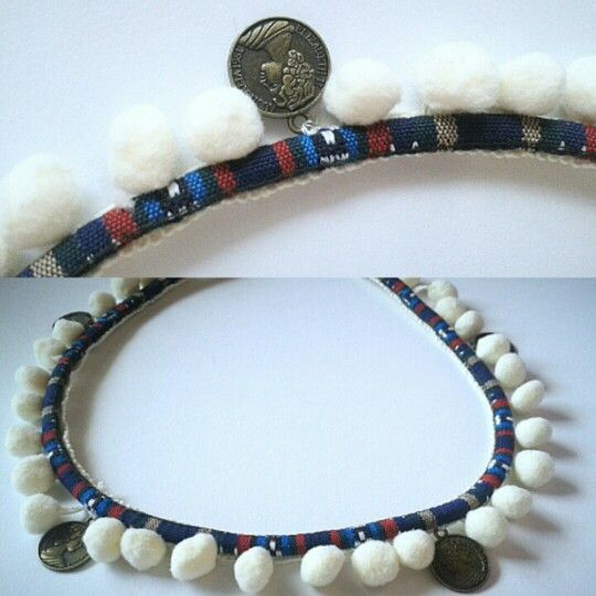 Blue ethnic pompom handmade necklace