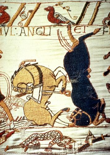 Detail of Bayeux Tapestry - The Bayeux tapestry is one of the supreme achievements of the Norman Romanesque era. Its survival almost intact over nine centuries is little short of miraculous. the 70 meter long scene depicts the events leading up to the Battle of Hastings 14. October 1066.