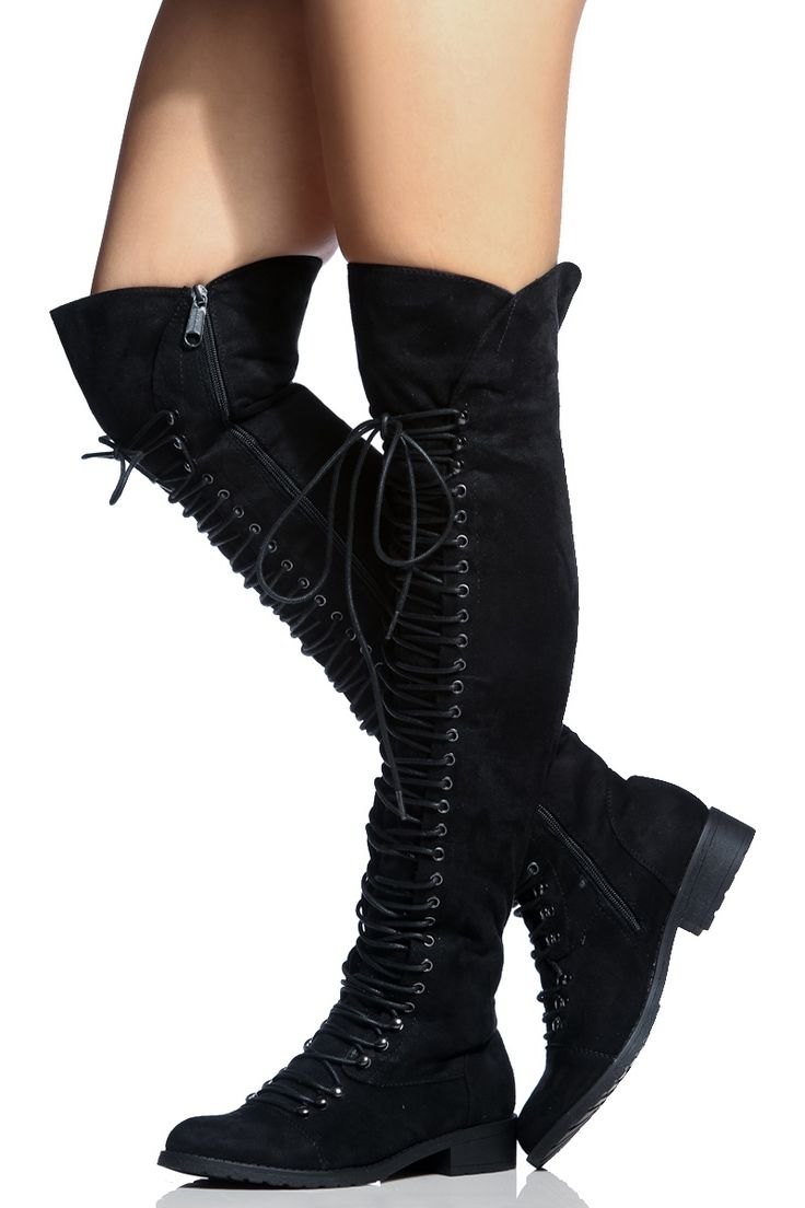 Black Faux Suede Thigh High Combat Boots @ Cicihot Boots Catalog:women's winter boots,leather thigh high boots,black platform knee high boots,over the knee boots,Go Go boots,cowgirl boots,gladiator boots,womens dress boots,skirt boots.