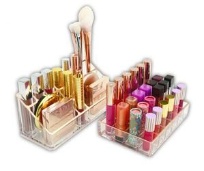 Handmade cosmetic organizers designed to simplify and beautify your makeup collection. Crystal clear acrylic showcases the beauty in beauty products. Sonny™