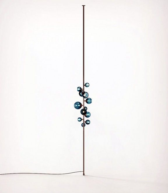 Damien Langlois Meurinne; Bronze and Glass 'Totem' Tension Lamp for Pouenat Gallery, 2013.