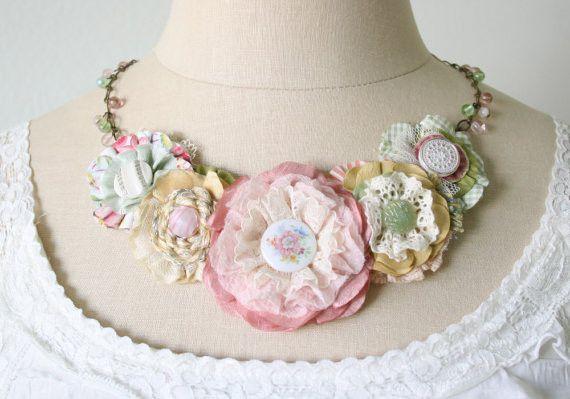Pastel Garden Fabric Flower Necklace - Unique Floral Jewelry