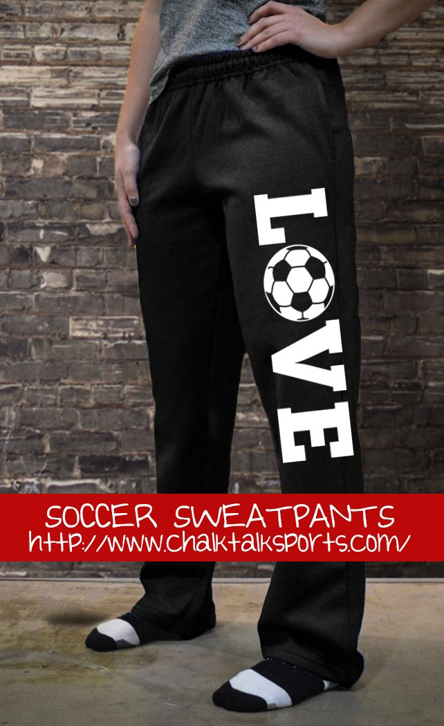 "You'll fall in ""LOVE"" with these comfortable sweatpants, for soccer players. #soccer #sweatpants"