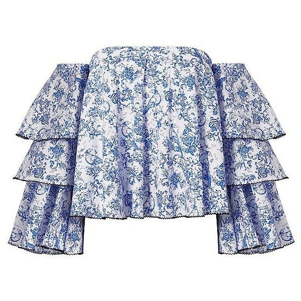Caroline Constas Women's Carmen Blue Toile Off-The-Shoulder Top (475 CHF) ❤ liked on Polyvore featuring tops, blouses, t-shirts, floral off the shoulder top, blue floral top, flutter sleeve top, floral tops and blue top