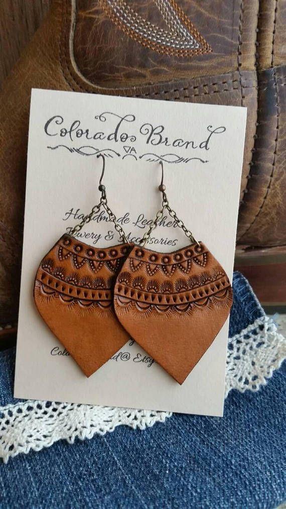 $19.95 Handmade Leather Earrings With Mandala pattern