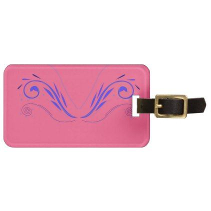 Design elements on pink luggage tag