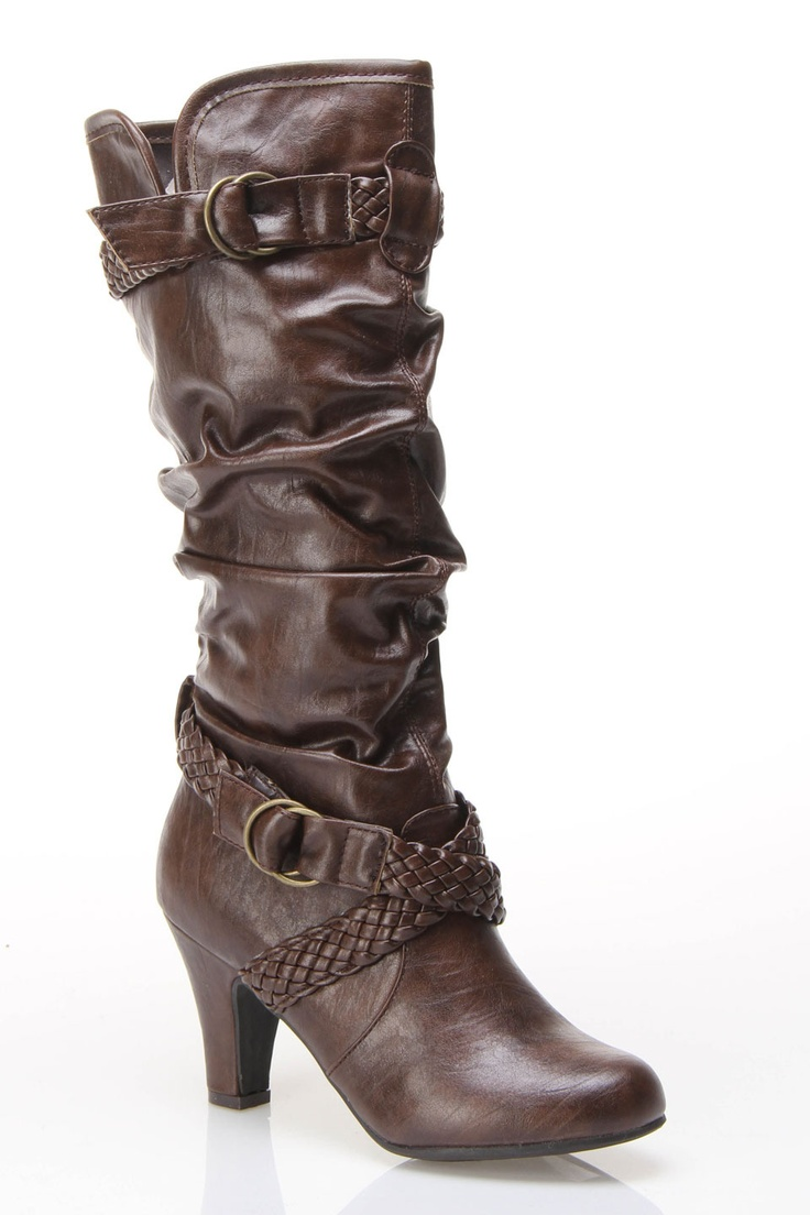 Brown Braided Buckle Boots