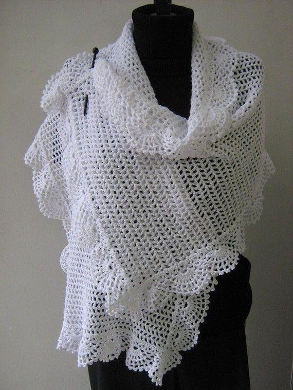 Crochet white shawl