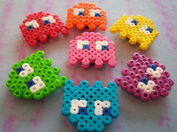 Small Rainbow Pacman Ghosts Magnets perler beads by Deannabanana23