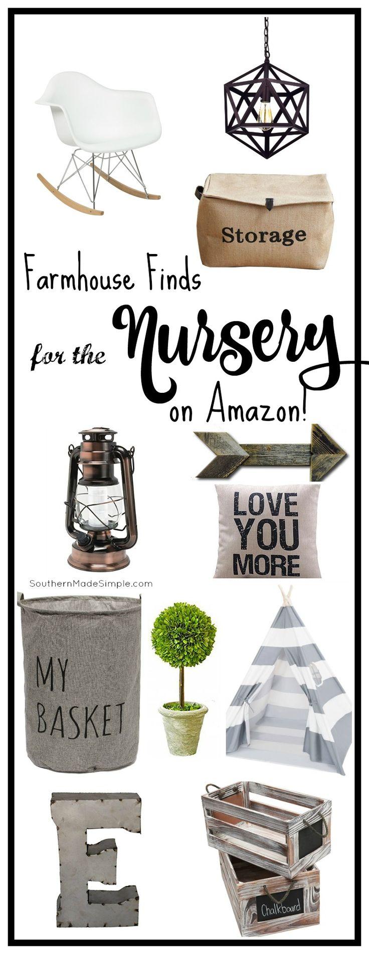 Farmhouse style decor for the nursery - and it's ALL available on Amazon! Hello, 2 day shipping! #farmhouse #nursery