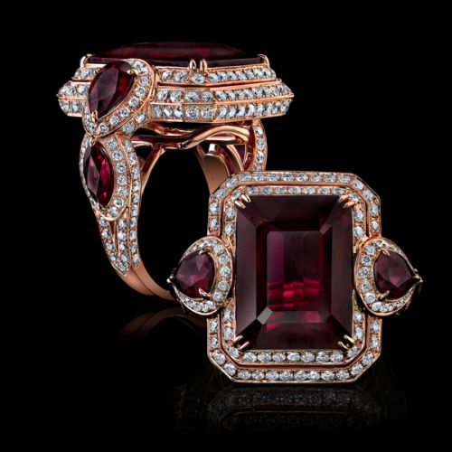 Robert Procop Exceptional Jewels; garnets and diamonds in rose gold.