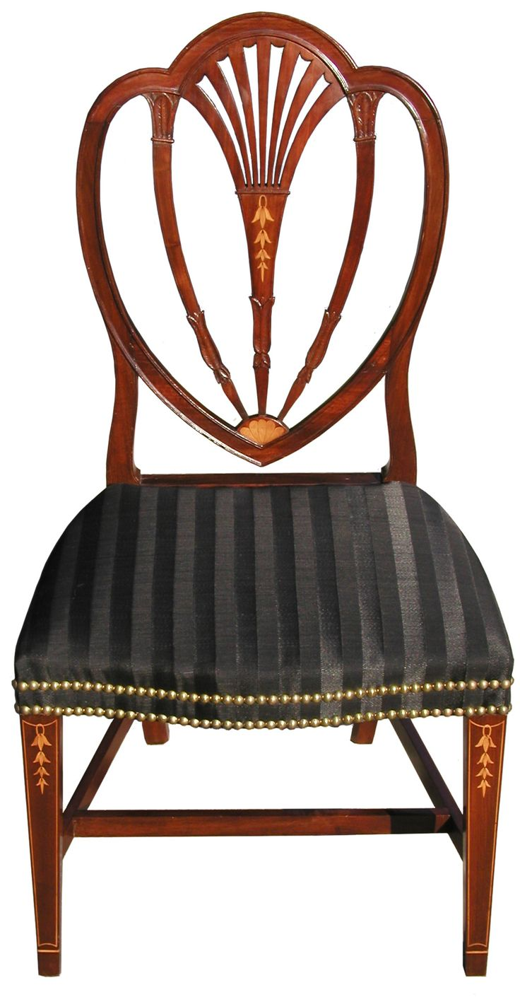 A Federal Inlaid Mahogany Heart Back Side Chair (one Of A Pair); Baltimore