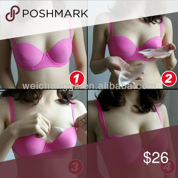 NEW IN BOX SILICONE BRA / SWIM TOP INSERTS Designed to enhance Bras / Swim Tops New :) Latex Free Stay in Place  Clear Color Intimates & Sleepwear Bras