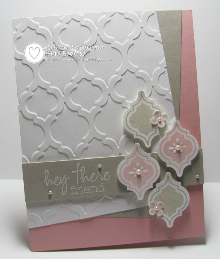Dynamic Duos 93 / Stampin' Up! ?mosaic Madness / Blushing Bride & Sahara Sand / Hollybeary Creations / Handmade Cards.