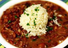 Red beans and rice, a Monday tradition in New Orleans. This reportedly is the recipe used by late Cajun humorist and cook Justin Wilson. History, tips and suggestions for leftovers are available at Zatarain's site (http://www.zatarains.com/Recipes/Red-Beans-and-Rice.aspx). Zatarain's makes a reasonably good boxed mix for those Mondays when time is an issue.