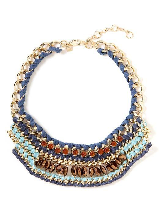 Chambray Chic Bib Necklace