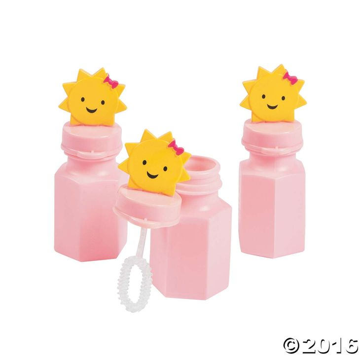 Everyone loves blowing bubbles! These bottles make fun first birthday party favors for an outdoor celebration. Each is topped with a smiling sun, conveniently ...