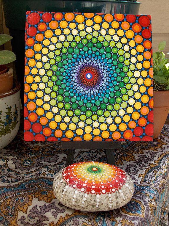 ESTABLECER punto pintura de Mandala Mandala de piedra 6 x