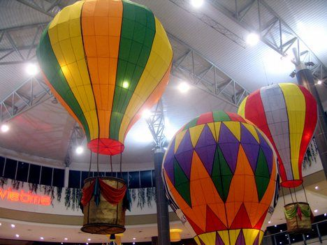 Giant Hot Air Balloons Around Basketball Hoops Hula Hoops
