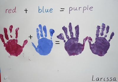 Primary and secondary colors!  Paint each hand a primary colour and then rub them together! A little science, literacy, math, and  it's a cool craft!