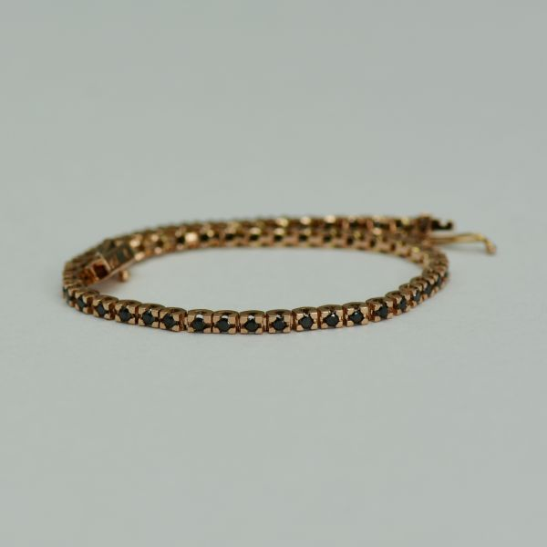 Bratara din aur roz cu diamante negre