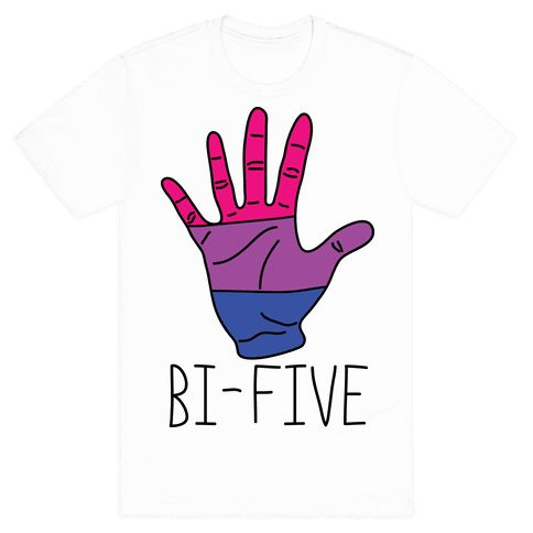 Show off your bi pride with this super funny and clever, LGBT+ inspired, high five shirt! Now go ahead and walk the streets and get some high fives from your bisexual brethren!