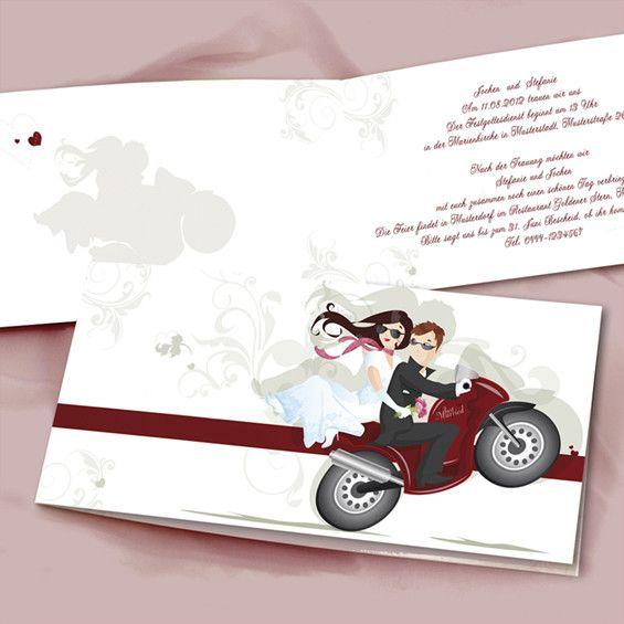 Motorrad fährt uns zum Glück Lustig Individuell Delikat Hochzeitskarten  OPB005
