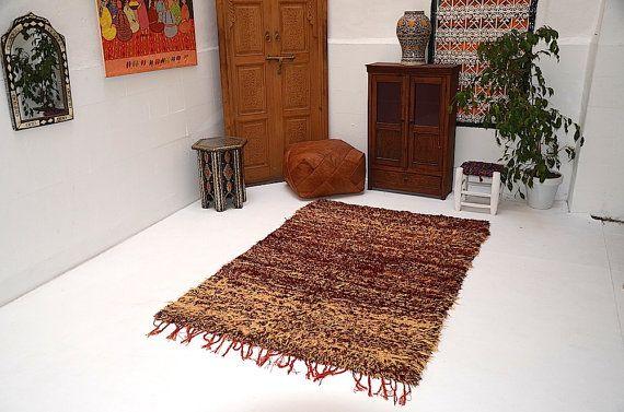 Heavy Tribal Vintage  Moroccan Carpet 4x6 by Beniouraincarpets