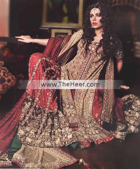 BW6350 Rose Ebony & UP Maroon Raw Silk & Banarasi Jamawar ShararaIndia Wedding Lenghas, Indian Designer Wedding Lenghas, Asian Bridal Lehghas USA Florida Texas NY CT Bridal Wear