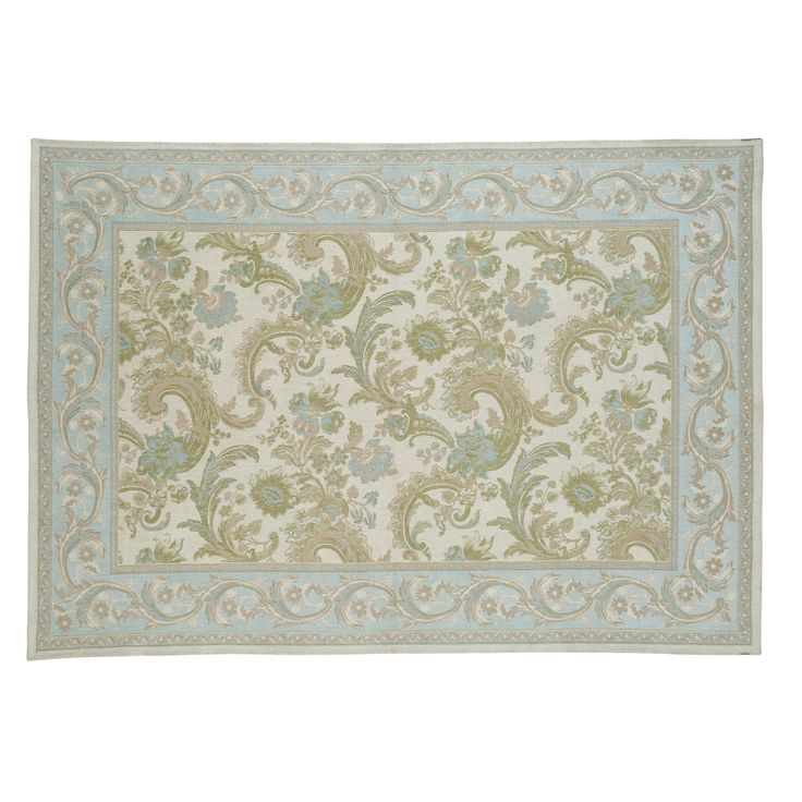 """Baroque"" traditional cotton & wool rug in duck egg turquoise blue from Laura Ashley."