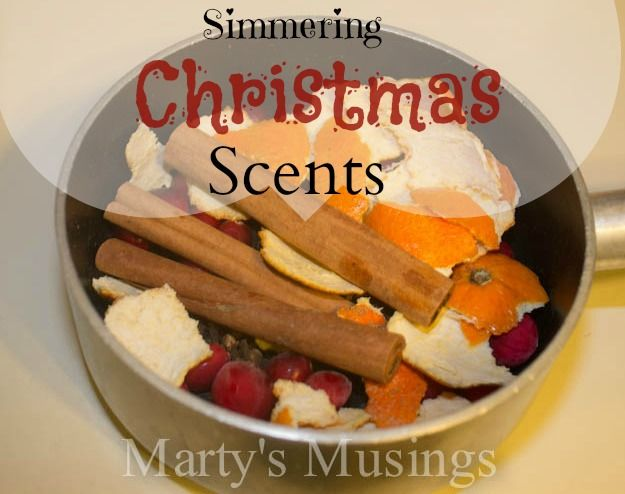Simmering Christmas Scents from Marty's Musings I use lemons instead of cranberries and slice the lemons and oranges. I've used this for over 30 years, it smells that good.