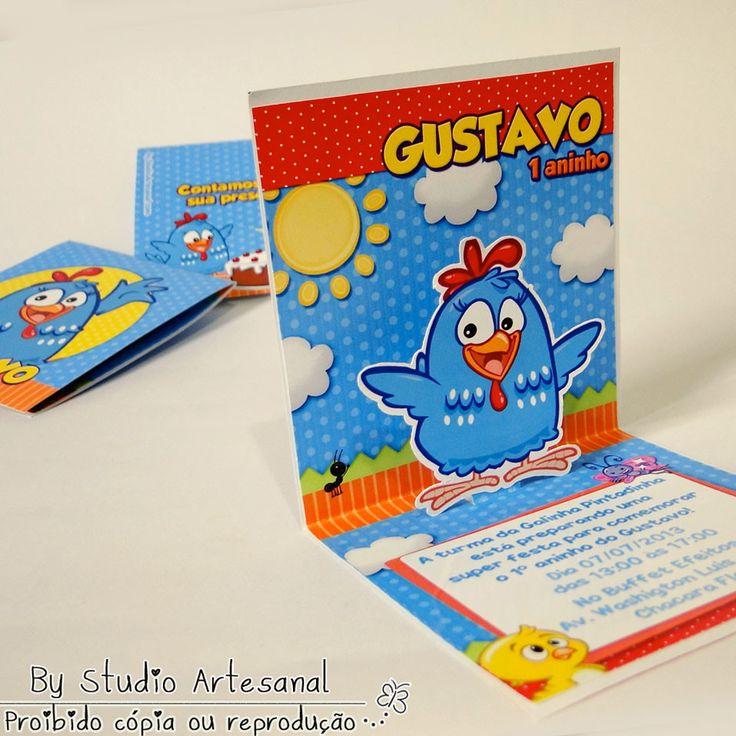 Convite Mini Pop Up - Galinha Pintadinha