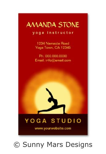 Yoga Pose Sunrise Yoga Teacher or Yoga Instructor Business Cards by sunnymars of SunnyMarsDesigns in association with Zazzle.  This cool red and yellow custom yoga binder features the silhouette of a woman practicing a yoga asana with the sunrise in the background.  Click through to see more yoga business cards.