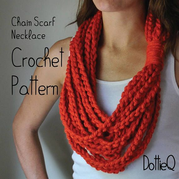 PATTERN Chain Scarf Necklace // Crochet PATTERN // Scarf Gift