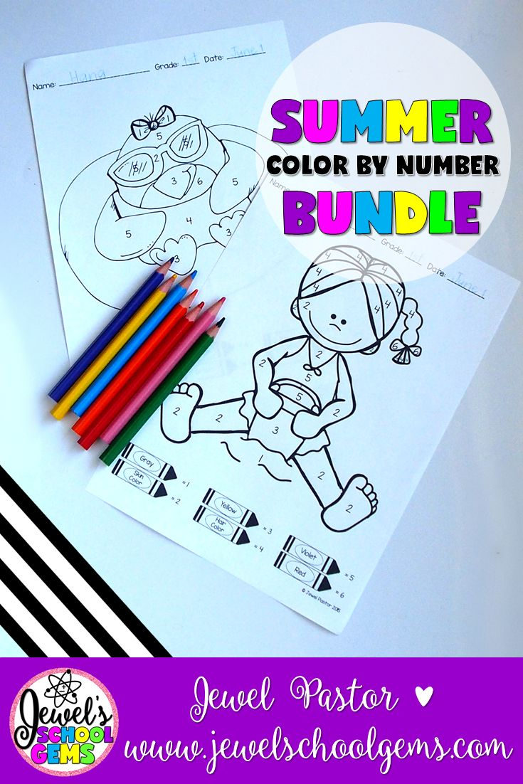 "SUMMER COLOR BY NUMBER BUNDLE by Jewel Pastor | This ""Summer Math Coloring Sheets BUNDLE"" is the perfect resource for your students this end of the year or during summer school. Just print the sheets and you are ready to go! Students color the picture through the key given at the bottom of each sheet. The coloring sheets feature images of kids and penguins on the beach. 