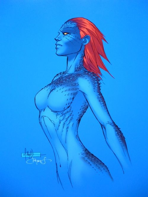 Mystique by the late Michael Turner, coloured by Peter Steigerwald.