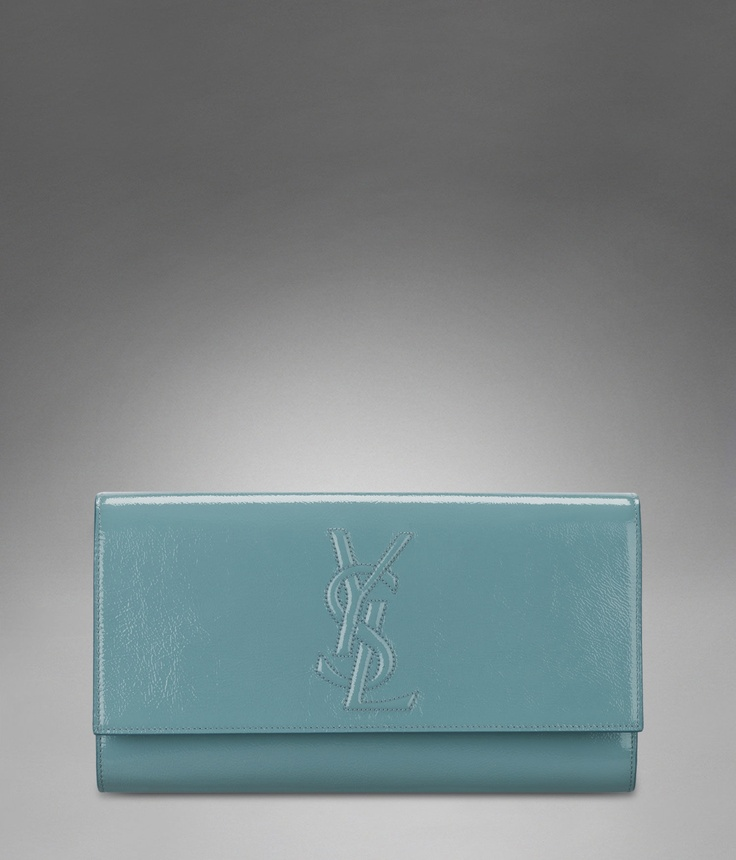 Large YSL Clutch in Skye Blue Patent Leather - Clutches \u2013 Handbags ...